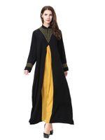 vestido de chiffon com mola mais tamanho venda por atacado-Atacado Mulheres Muçulmanas Patchwork Kaftan Vestido S-3XL Plus Size Mulheres Islâmico Manga Comprida Chiffon Vestido Jilbab