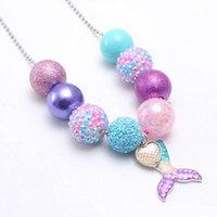 Wholesale kids chunky beads necklace for sale - Group buy New Arrivel Mermaid Tail Kid Chunky Necklace Beaded Chain Girls Bubblegum Beads Charm Pendant Chunky Necklace Jewelry For Children