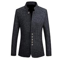 herren-jacke großhandel-Marke Mens Vintage Blazer Mäntel chinesischen Stil Business Kleid Blazer Casual Stehkragen Frühling Herbst Jacken männlich Slim Fit Anzug Jacke