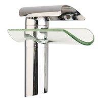 mitigeur de lavabo en verre achat en gros de-Robinet de salle de bains moderne avancée robinet à cascade en verre chromé laiton salle de bains bassin robinet évier mélangeur robinet à cascade