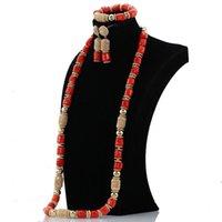 ingrosso accessori di collana in perline per donna-Dubai oro perline accessorio donna 40 pollici perline di corallo collana di gioielli africani moda set regalo sposa ABH595 C18122701
