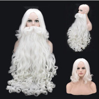 Wholesale chocolate wigs for sale - Group buy 2018 New Christmas Gifts Santa Claus Beard Cosplay Wig Short Synthetic Wigs Men Women Curly Wigs Christmas Day Accessories White