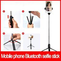 soportes de cámara de video al por mayor-Hot Bluetooth Selfie Stick Trípode integrado Selfie Monopods Extensible Autorretrato Stick Cámara estabilizador Soporte de video multifuncional