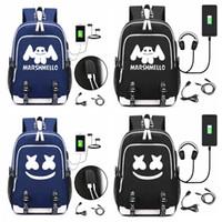 mochilas de niños cool para la escuela al por mayor-DJ marshmello la mochila USB portátil mochila para chicos, chicas adolescentes niños bookbag frescas de los niños bolso FFA1708-2