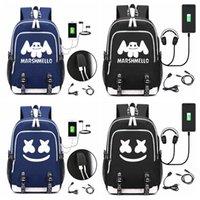 mochilas para crianças venda por atacado-DJ marshmello mochila mochila laptop usb para meninos das meninas adolescentes de crianças fresco crianças bookbag handbag FFA1708-2