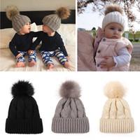 Wholesale kids fur pompom hats resale online - Children Soft ball Knitted Hat Outdoor Kids Winter Warm Ski Hat Solid Color Fur Pompom Cap Elasticity Knit Beanie Cap LJJT1483