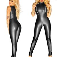 ingrosso corpo intercetta aperta-Sexy Black Wet Look Zipper Faux Leather Jumpsuit Pvc Latex Catsuit Club Costumi di usura Donne Con apertura sul cavallo Body Fetish Uniformi Y190427
