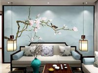 chinesische vogelmalereien großhandel-Kundenspezifische neue chinesische handgemalte Magnolie Stift und Vogel Hintergrund Wanddekoration Malerei Tapete Behang dekorative Gemälde