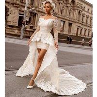 rendas acima do vestido de noiva do joelho venda por atacado-Acima do joelho mini bainha vestidos de casamento do laço com trem destacável sexy fora do ombro manga longa vestidos de casamento nupcial