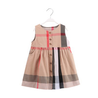 jersey de cuadros al por mayor-Vestidos de algodón a cuadros para niñas con diseño de botones en la parte delantera Cómodo y elegante Falda estilo jumper
