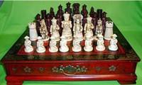 ingrosso decorazione cinese della scatola-Rame Ottone decorazione artigianale fabbrica di bronzo Ottone puro Antico cinese Qing Carattere Scatola in legno da 32 pezzi in pelle per scacchi