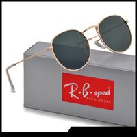 marcos redondos al por mayor-Gafas de sol redondas Hombres Mujeres Gafas Gafas de sol Diseñador de la marca Gold Metal Frame uv400 Lentes con una mejor calidad Casos y caja de color marrón