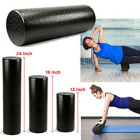 pilates rollen großhandel-90 cm schwarz extra firma high density yoga schaum roller pilates übung fitness physio gym massage rehabilitation verletzung
