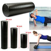 Wholesale physio yoga for sale - Group buy 90CM Black Extra Firm High Density Yoga Foam Roller Pilates Exercise Fitness Physio Gym Massage Rehab Injury
