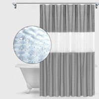 douche style classique achat en gros de-EVA Douche 3D Splicing Rideau Solide Couleur Gris épais Brochage semi-perméable rideau de douche baignoire toilettes salle de bains Accessoires XD23135