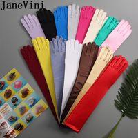 Wholesale pink gloves sale resale online - JaneVini Hot Sale cm Long Satin Bride Gloves Full Finger Shiny Satin Wedding Accessory Stretchy Bridal Dance Gloves White