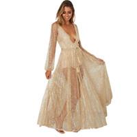 saydam elbiseler toptan satış-Tasarımcı Altın Parti Elbiseler Avrupa Uzun Kollu Dantel Saydam Seksi Gece Kulübü Elbise Kadınlar için Derin V Boncuklu Elbise