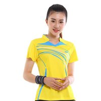camisa de bádminton amarilla al por mayor-Camisa de alta calidad antiestática de secado rápido de las muchachas del bádminton Sportwear, camiseta del bádminton de la muchacha, ropa del tenis de las mujeres amarillo XF-20