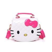 bonjour sacs à main achat en gros de-Dessin animé mignon mode fille sac à main jouet enfant épaule dos oblique PU sac bonjour kitty