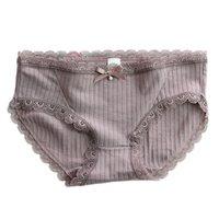 hermosos bikinis al por mayor-3 unidades Nueva primavera Bragas de encaje sexy mujeres 100% algodón sin costuras Bragas lencería Hermosa solidez ropa interior de mujer