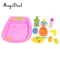 Wholesale toy bathtub resale online - 11 Pieces Plastic Baby Doll Bathtub with Accessories Kids Pretend Play Toy Gift
