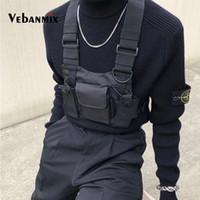 ingrosso borsa tattica dell'anca-Borsa rig di nylon di moda Borsa nera Hip Hop Streetwear Cablaggio tattico funzionale Petto di Kanye West Wist Pack