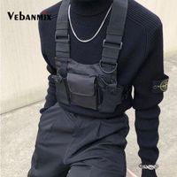 bolso de cadera táctico al por mayor-Moda Nylon Cofre Rig Bag Negro Chaleco Hip Hop Streetwear Funcional Arnés táctico Cofre del pecho Kanye West Wist Pack Bolsa