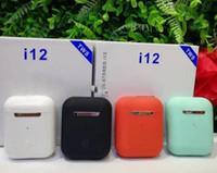 Wholesale pop phone green for sale – best TWS earphone Original Matte color i12 tws Bluetooth Earphone pop up Wireless headphone Touch control Earbuds