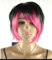 Wholesale straight pink cosplay wig online - WIG Fashion Cosplay Black Pink MIx Short Straight Women Female Wig