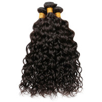 Wholesale human hair online - 9A Brazilian Indian Malaysian Peruvian Water Wave Virgin Human Hair Weaves Bundles Wet and Wavy Remy Human Hair Extensions Natural Color