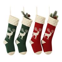 tapeçarias vermelhas venda por atacado-Rena malha Natal meias vermelhas Verde 2 cores Meias do Natal Bares Restaurante Xmas tapeçarias 60 Pieces DHL