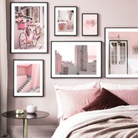 Wholesale bar wall canvas art for sale - Group buy Pink City Flower Bike Coffee Shop Girl Room Nordic Posters And Prints Wall Art Canvas Painting Wall Pictures For Living Room Bar
