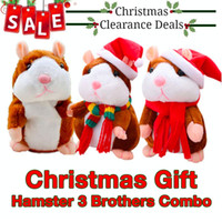 Wholesale talking plush toy hamster resale online - Christmas Gift Brothers Christmas Talking Hamster Plush Cheeky Hamster Talking Pet Soft Toy Xmas Sound Kid Gift Villus
