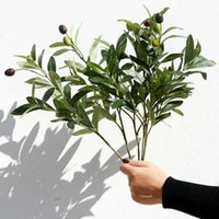 Wholesale olive branches for sale - Group buy 5pcs Artificial Plant Foliage Bouquet Party Home Decor Wedding Olive Branches Living Room Craft Office Fake Leaf Simulation
