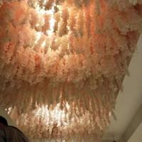 schwarze lila rosen großhandel-Neue Ankunfts-Artificial Wisteria-Blumen-Rebe Hydrangea String für Hauptdekor Hochzeit DIY Dekoration liefert freies Verschiffen