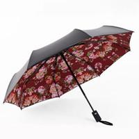 ingrosso ombrelli automatici-Retro protezione solare parasole semiautomatica floreale antiurto 8 pioggia e pioggia di osso ombrello triplo di plastica nero a duplice uso.