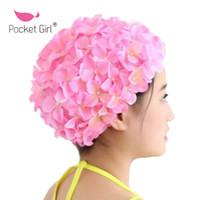 красивые длинные волосы женщины оптовых-Pocket Girl Petal Шапочки для плавания Lady Long Hair Красивые 3D Цветочные шапочки для плавания для женщин Красивые цветочные женские шапочки для плавания