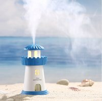 Wholesale lighthouse lighting resale online - New Arrival USB Aroma Humidifier Lighthouse LED Light Essential Oil Aroma Diffuser Creative Mist Maker