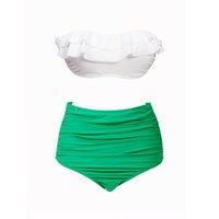 bikini couvre la poitrine achat en gros de-Couverture de maillot de bain taille haute sexy couleur naturelle poitrine poitrine blanc bande verte bikini