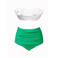 weißer taillierter bikini großhandel-Sexy natürliche Farbe wickeln Brust hoch taillierte Badeanzug decken weiß grün Band Falten Bikini