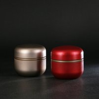 Wholesale mini tea case for sale - Group buy Metal Tin Mini Tea Box Caddy Round Shape Sealed Jar Cans Coffee Tea Storage Case