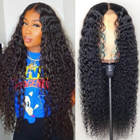 Wholesale wet wavy full lace wigs resale online - Top Quality Brazilian Wet and Wavy Human Hair Wigs Brazilian Water Wave Lace Front Wigs Glueless Full Lace Wigs Bleached Knots Natural Black
