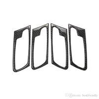 portas interiores molduras venda por atacado-Porta Do Carro interior Handle Frame Guarnição De Fibra De Carbono Real Decoração Car Styling Acessórios para BMW X5 E70 X6 E71