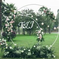 ingrosso archi di fiori-5 Dimensioni Wedding Party Puntelli Decor Anello in ferro battuto Arco Fondale Rotondo ad arco Fiore di seta artificiale fila fila mensola a muro