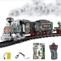 Wholesale motor adapter resale online - Fashion Cool Remote Control Conveyance Car Electric Steam Smoke RC Train Set Model Toy JAN22