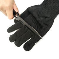 siyah kesme eldivenleri toptan satış-CDT 1 Pair Siyah Beyaz Çalışma Emniyet Eldiven Kesilmiş Dayanıklı Kişisel Koruyucu Paslanmaz Çelik Tel Kasap Anti-Kesme Eldiven
