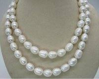 Wholesale 35 inch south sea pearls resale online - Natural inch mm South Sea White Pearl Necklace k yellow gold clasp