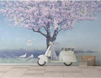 Wholesale pink tree pictures resale online - Custom Size D Photo Wallpaper Living Room Mural Pink Tree Flying Pigeon Picture Sofa TV Backdrop Home Decor Creative Hotel Study Wallpape