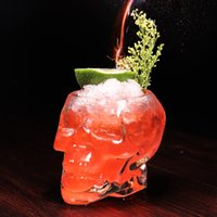 ingrosso tazze cranio pirata-Creative Crystal Skull Wine Cups Bicchiere da cocktail Europeo e American Pirate Cup Mug succo di caffè Bicchieri da vino LJJA2458