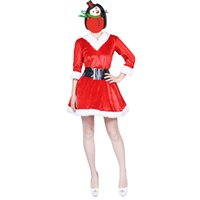 4423fb018a santa claus New Arrival Christmas Dress Women Christmas For Adult 2017 Red  Velvet Fur Dresses Hooded Sexy Female Santa Claus Costume